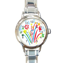 Fireworks Rainbow Flower Round Italian Charm Watch by Mariart