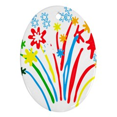 Fireworks Rainbow Flower Ornament (oval) by Mariart