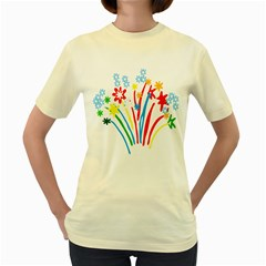 Fireworks Rainbow Flower Women s Yellow T-shirt by Mariart