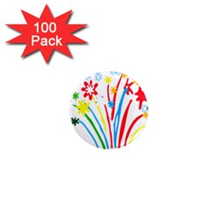 Fireworks Rainbow Flower 1  Mini Magnets (100 Pack)  by Mariart