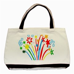 Fireworks Rainbow Flower Basic Tote Bag by Mariart