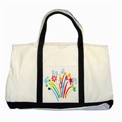 Fireworks Rainbow Flower Two Tone Tote Bag