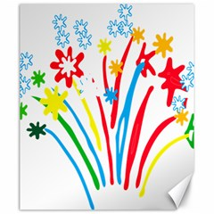 Fireworks Rainbow Flower Canvas 20  X 24   by Mariart