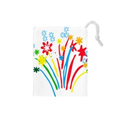 Fireworks Rainbow Flower Drawstring Pouches (small)  by Mariart