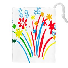 Fireworks Rainbow Flower Drawstring Pouches (xxl) by Mariart