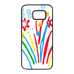 Fireworks Rainbow Flower Samsung Galaxy S7 Edge Black Seamless Case by Mariart