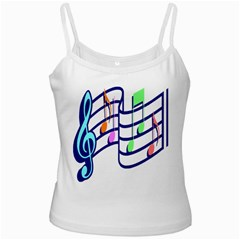 Music Note Tone Rainbow Blue Pink Greeen Sexy White Spaghetti Tank by Mariart