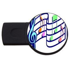 Music Note Tone Rainbow Blue Pink Greeen Sexy Usb Flash Drive Round (4 Gb) by Mariart
