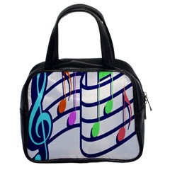 Music Note Tone Rainbow Blue Pink Greeen Sexy Classic Handbags (2 Sides) by Mariart