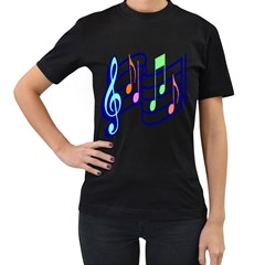 Music Note Tone Rainbow Blue Pink Greeen Sexy Women s T-shirt (black) by Mariart
