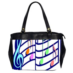 Music Note Tone Rainbow Blue Pink Greeen Sexy Office Handbags (2 Sides)  by Mariart