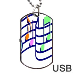 Music Note Tone Rainbow Blue Pink Greeen Sexy Dog Tag Usb Flash (two Sides)