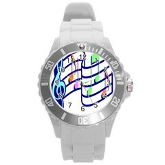 Music Note Tone Rainbow Blue Pink Greeen Sexy Round Plastic Sport Watch (l) by Mariart