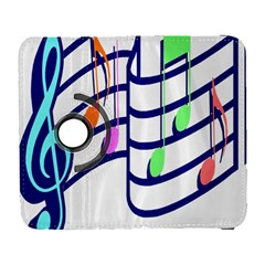 Music Note Tone Rainbow Blue Pink Greeen Sexy Galaxy S3 (flip/folio) by Mariart