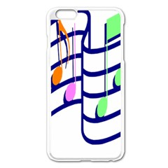 Music Note Tone Rainbow Blue Pink Greeen Sexy Apple Iphone 6 Plus/6s Plus Enamel White Case