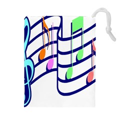 Music Note Tone Rainbow Blue Pink Greeen Sexy Drawstring Pouches (extra Large) by Mariart