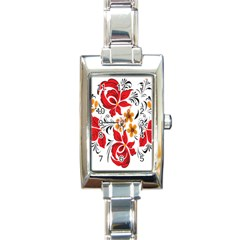 Flower Red Rose Star Floral Yellow Black Leaf Rectangle Italian Charm Watch by Mariart