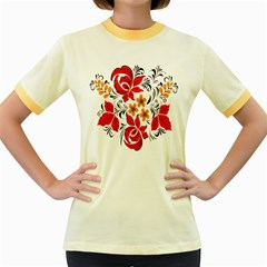 Flower Red Rose Star Floral Yellow Black Leaf Women s Fitted Ringer T Shirts