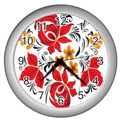 Flower Red Rose Star Floral Yellow Black Leaf Wall Clocks (silver)  by Mariart