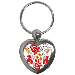 Flower Red Rose Star Floral Yellow Black Leaf Key Chains (heart)  by Mariart
