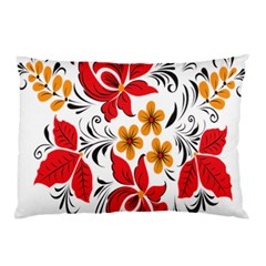Flower Red Rose Star Floral Yellow Black Leaf Pillow Case (two Sides) by Mariart