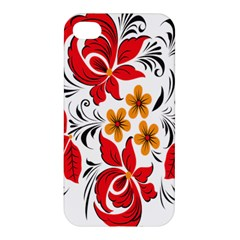 Flower Red Rose Star Floral Yellow Black Leaf Apple Iphone 4/4s Hardshell Case by Mariart