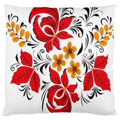 Flower Red Rose Star Floral Yellow Black Leaf Large Cushion Case (one Side) by Mariart