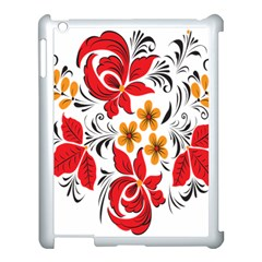 Flower Red Rose Star Floral Yellow Black Leaf Apple Ipad 3/4 Case (white) by Mariart