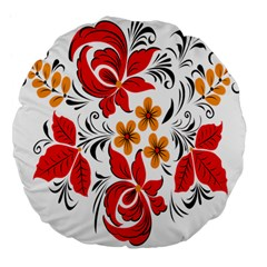 Flower Red Rose Star Floral Yellow Black Leaf Large 18  Premium Flano Round Cushions by Mariart