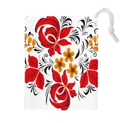 Flower Red Rose Star Floral Yellow Black Leaf Drawstring Pouches (extra Large) by Mariart