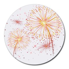 Fireworks Triangle Star Space Line Round Mousepads by Mariart