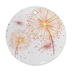 Fireworks Triangle Star Space Line Round Ornament (two Sides) by Mariart
