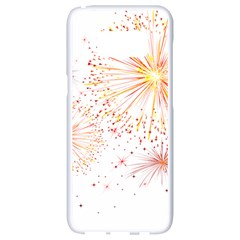 Fireworks Triangle Star Space Line Samsung Galaxy S8 White Seamless Case by Mariart