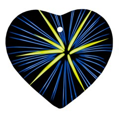 Fireworks Blue Green Black Happy New Year Heart Ornament (two Sides)
