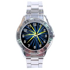 Fireworks Blue Green Black Happy New Year Stainless Steel Analogue Watch by Mariart