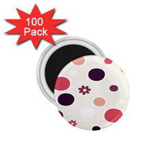 Polka Dots Flower Floral Rainbow 1 75  Magnets (100 Pack)  by Mariart