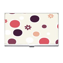Polka Dots Flower Floral Rainbow Business Card Holders by Mariart