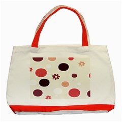 Polka Dots Flower Floral Rainbow Classic Tote Bag (red) by Mariart