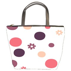 Polka Dots Flower Floral Rainbow Bucket Bags by Mariart