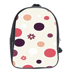 Polka Dots Flower Floral Rainbow School Bag (large)