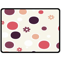 Polka Dots Flower Floral Rainbow Fleece Blanket (large)  by Mariart