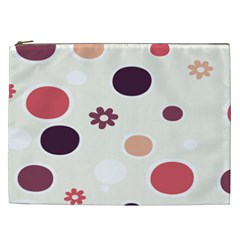 Polka Dots Flower Floral Rainbow Cosmetic Bag (xxl)  by Mariart