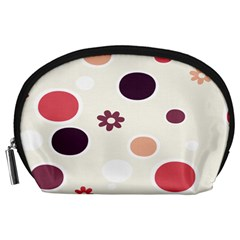 Polka Dots Flower Floral Rainbow Accessory Pouches (large)  by Mariart