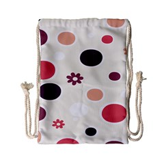 Polka Dots Flower Floral Rainbow Drawstring Bag (small) by Mariart