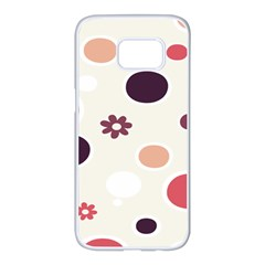 Polka Dots Flower Floral Rainbow Samsung Galaxy S7 Edge White Seamless Case by Mariart