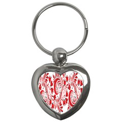 Red Flower Floral Leaf Key Chains (heart)  by Mariart