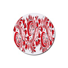 Red Flower Floral Leaf Rubber Round Coaster (4 Pack)  by Mariart
