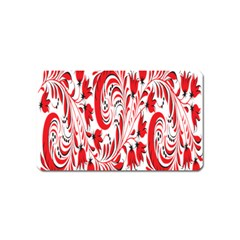 Red Flower Floral Leaf Magnet (name Card) by Mariart