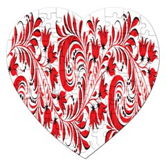 Red Flower Floral Leaf Jigsaw Puzzle (heart) by Mariart