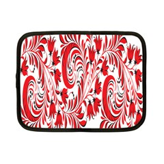 Red Flower Floral Leaf Netbook Case (small)  by Mariart